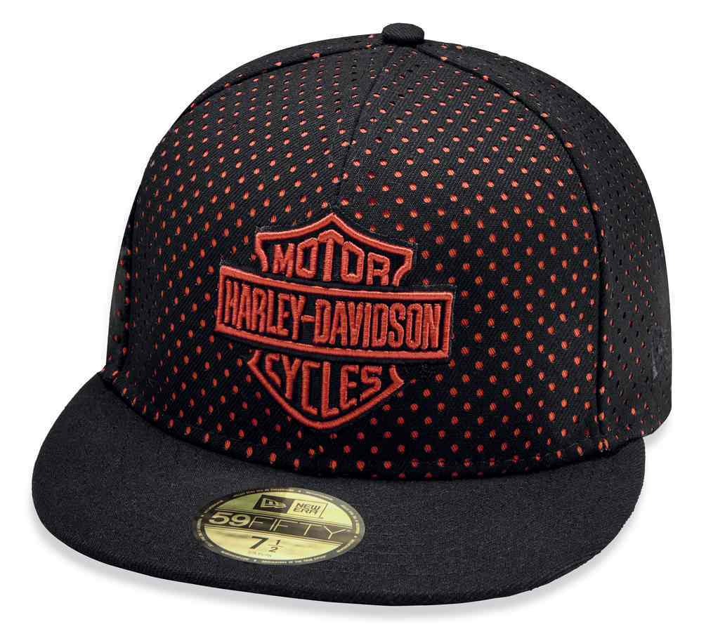 Harley-Davidson® Men's B&S Perforated 59FIFTY Baseball Cap, Black/Red 97857-19VM